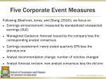 five corporate event measures