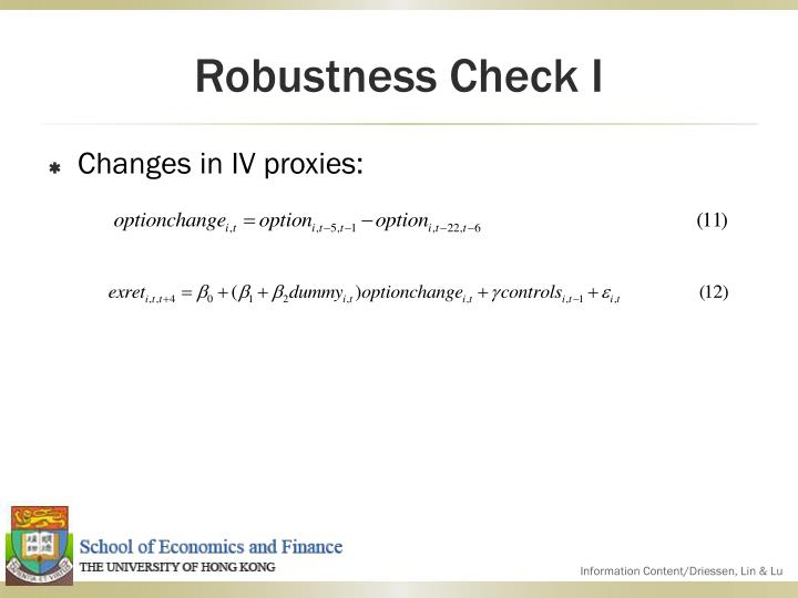 Robustness Check I