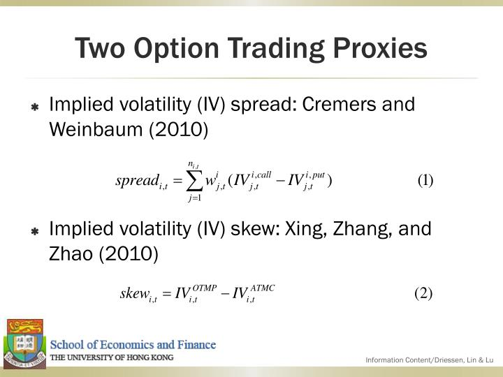 Two Option Trading Proxies