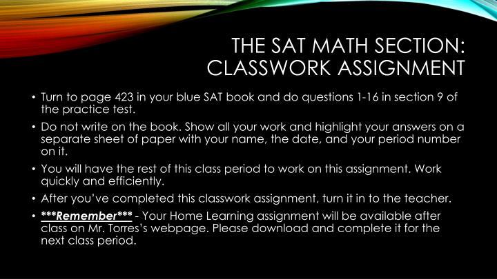 The sat math section: classwork assignment