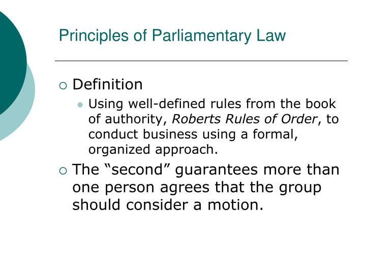 Principles of Parliamentary Law