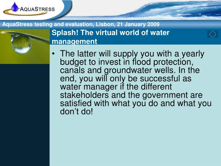 Splash! The virtual world of water management