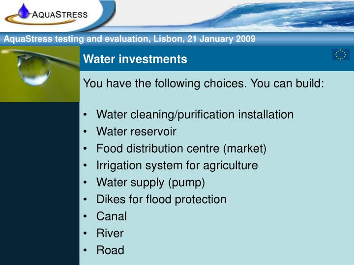 Water investments