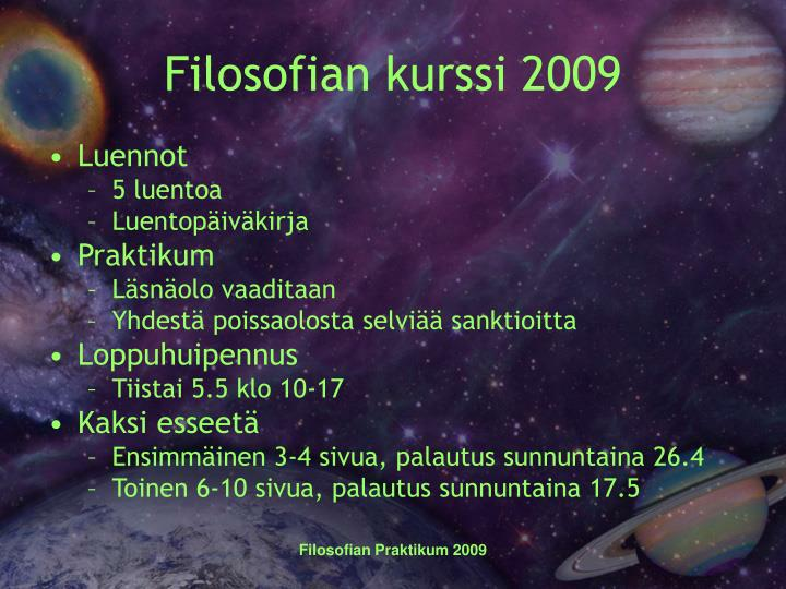 Filosofian kurssi 2009