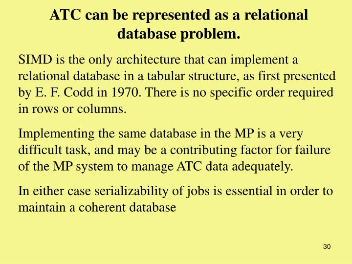 ATC can be represented as a relational database problem.