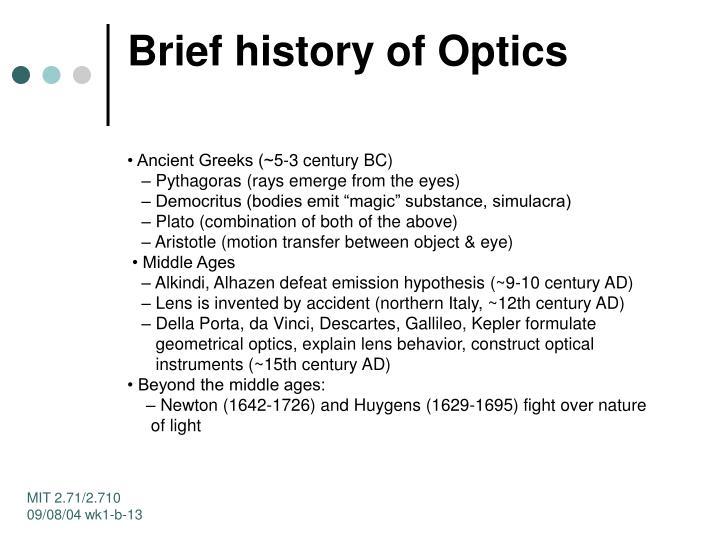 Brief history of Optics
