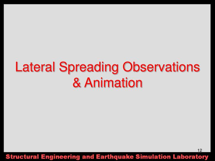 Lateral Spreading Observations & Animation