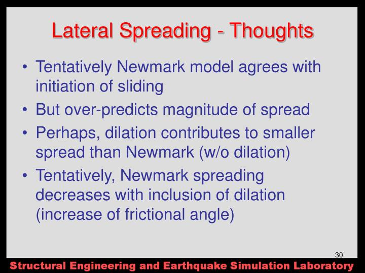 Lateral Spreading - Thoughts