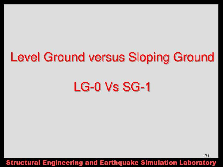 Level Ground versus Sloping Ground