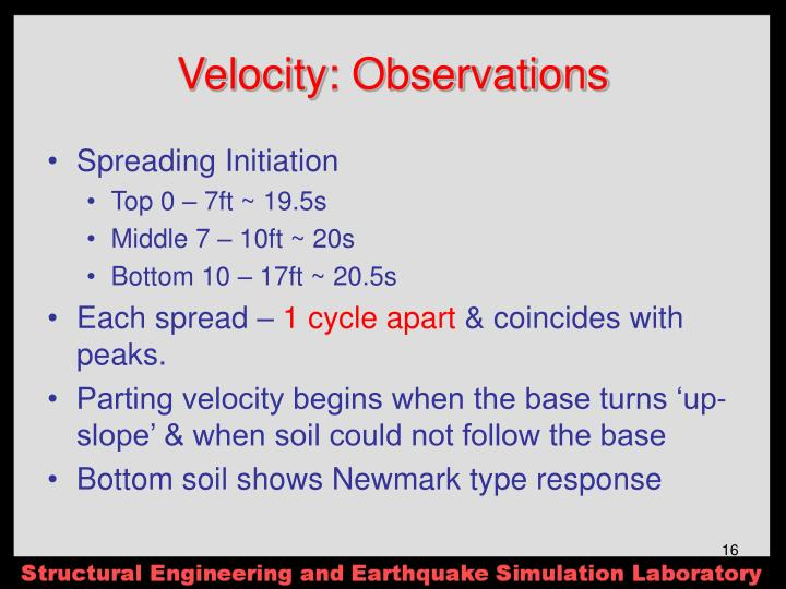Velocity: Observations