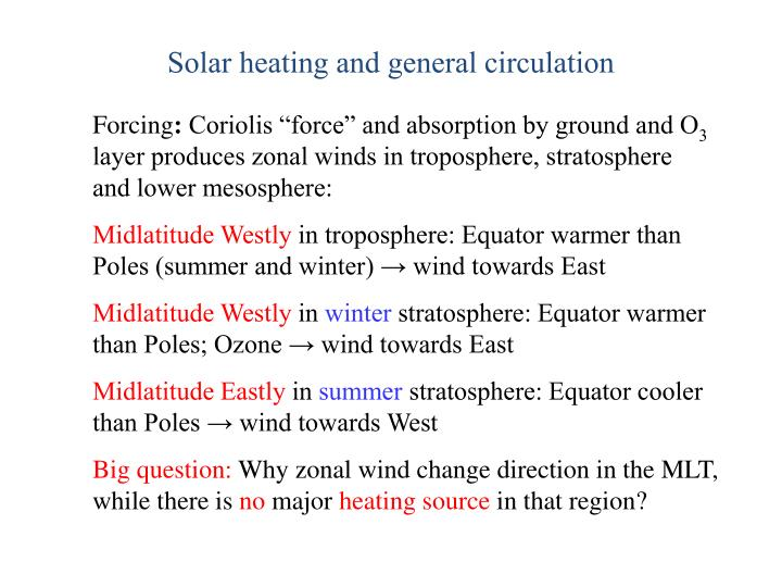 Solar heating and general circulation