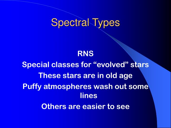 Spectral Types