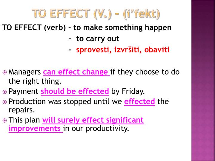 to effect (v.)