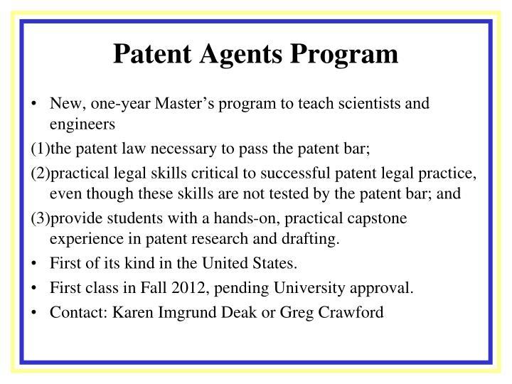 Patent Agents Program
