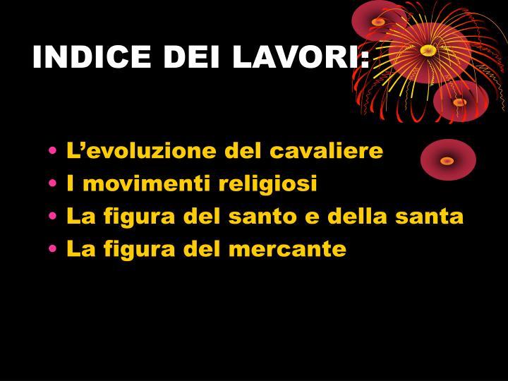 INDICE DEI LAVORI: