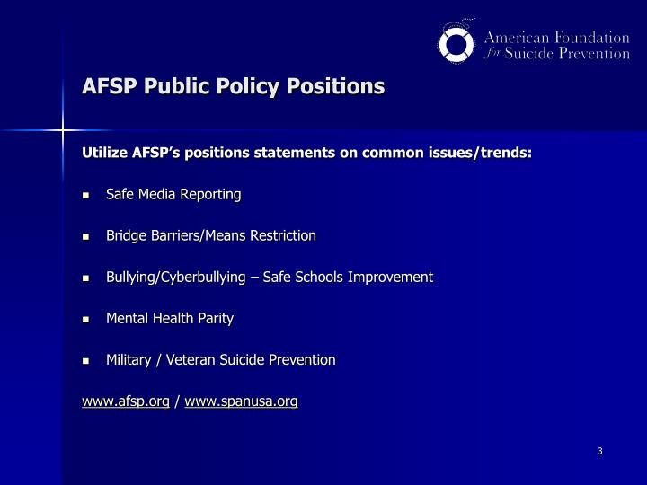 Afsp public policy positions