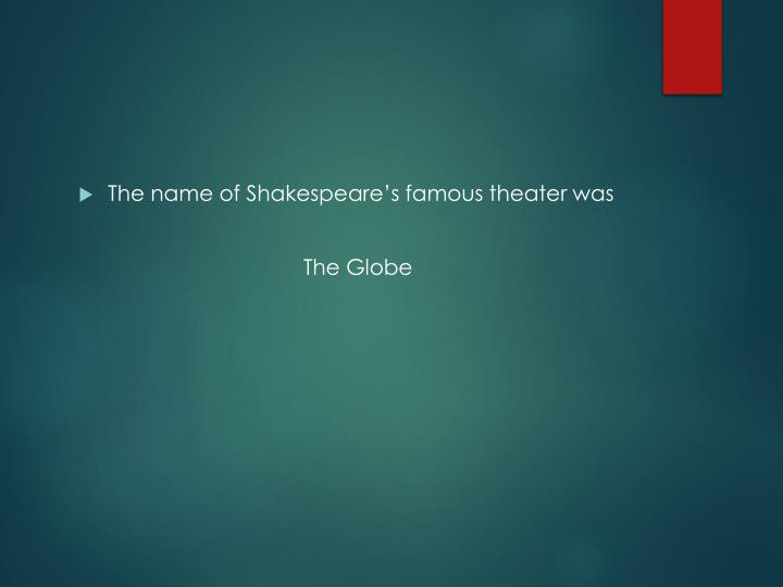 The name of Shakespeare's famous theater was