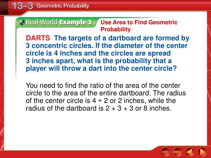 Use Area to Find Geometric Probability