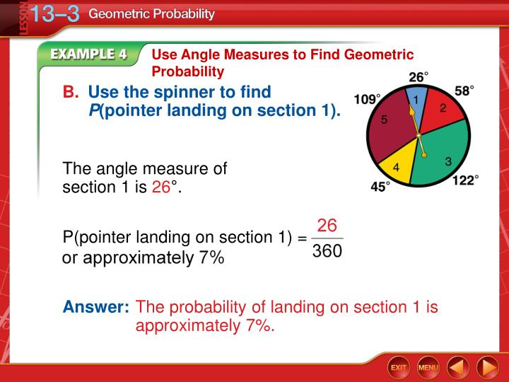 P(pointer landing on section 1) =