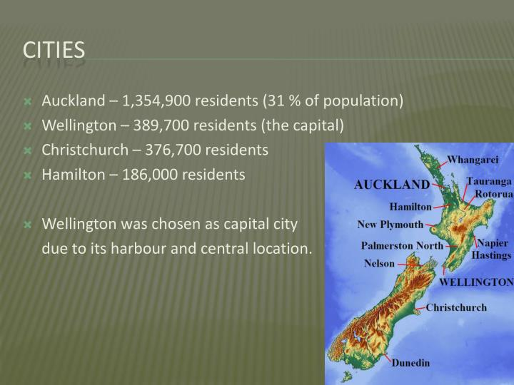 Auckland – 1,354,900 residents (31 % of population)