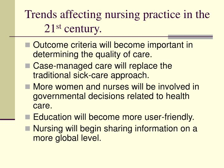 trends in nursing leadership We need nursing leadership to exert that influence and by nurturing both  yet  when nursing leaders picked the top trends for 2000, their first topic noted how.