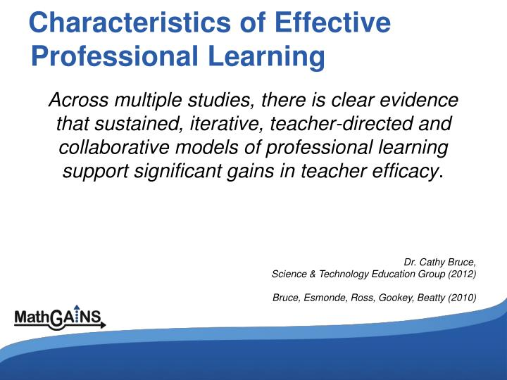 Characteristics of Effective Professional Learning