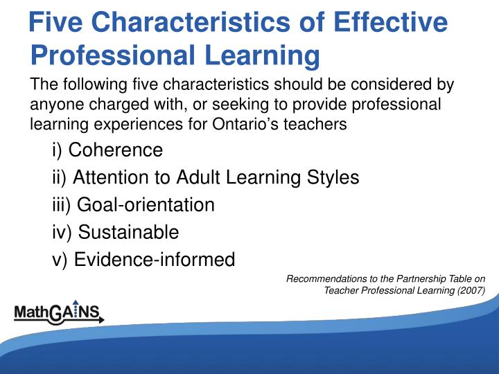 Five Characteristics of Effective Professional Learning