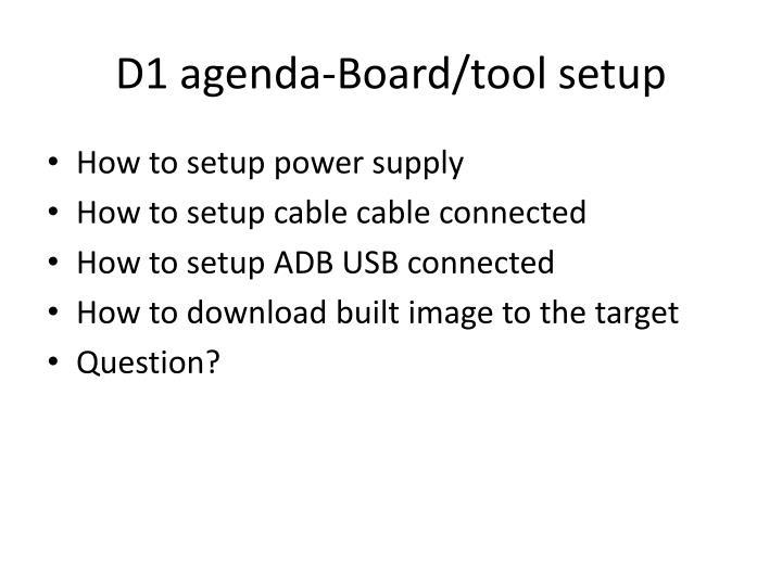 D1 agenda-Board/tool setup