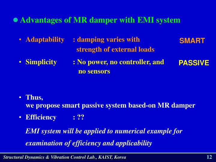 Advantages of MR damper with