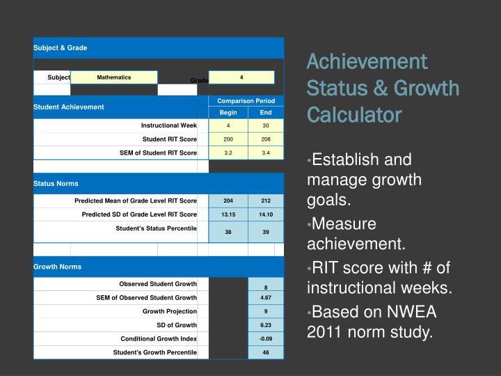 Achievement Status & Growth Calculator