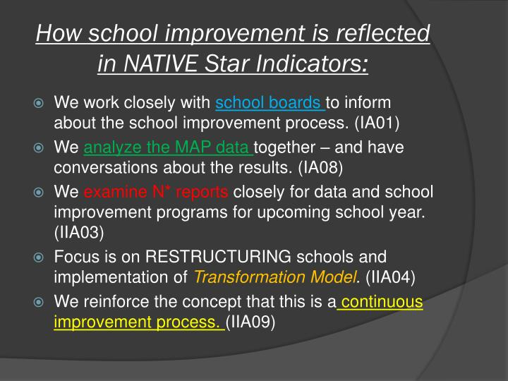 How school improvement is reflected in NATIVE Star Indicators: