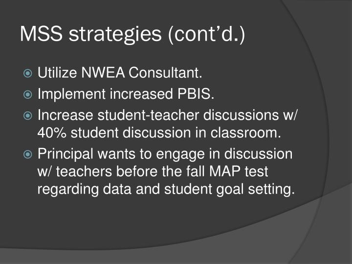 MSS strategies (cont'd.)