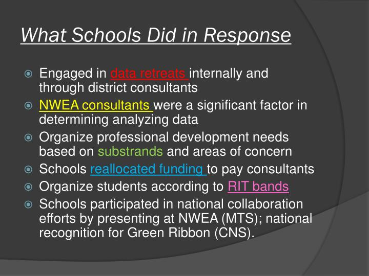 What Schools Did in Response