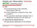 details per observable intensity bctdc remaining issues