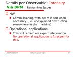 details per observable intensity via bpm remaining issues
