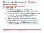 details per observable position remaining issues