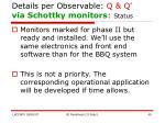 details per observable q q via schottky monitors status