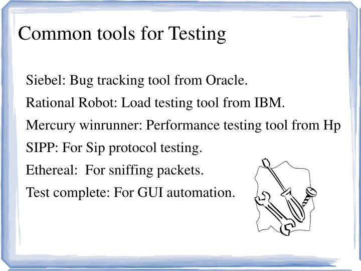 Common tools for Testing