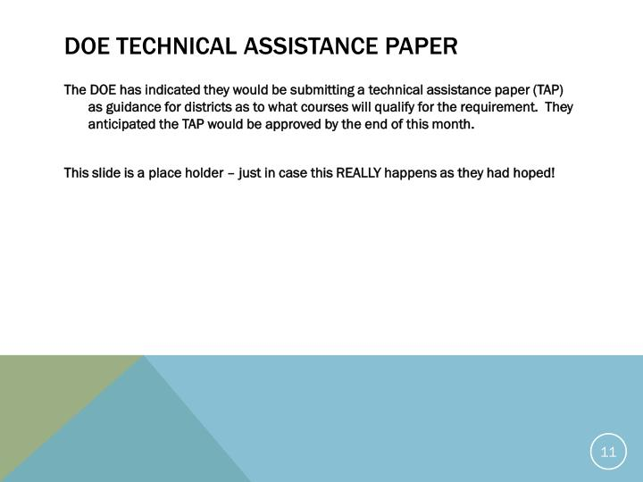 DOE Technical assistance paper