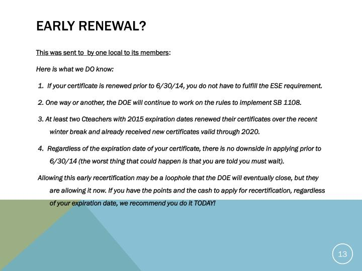 Early Renewal?