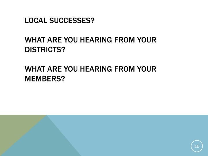Local Successes?
