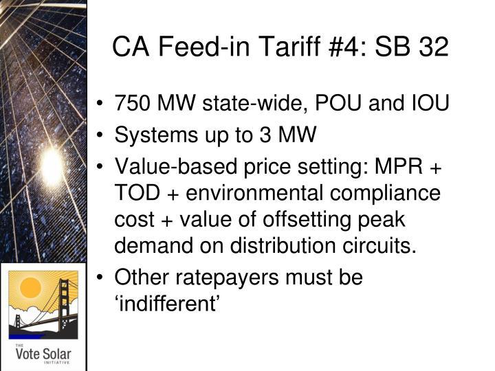 CA Feed-in Tariff #4: SB 32