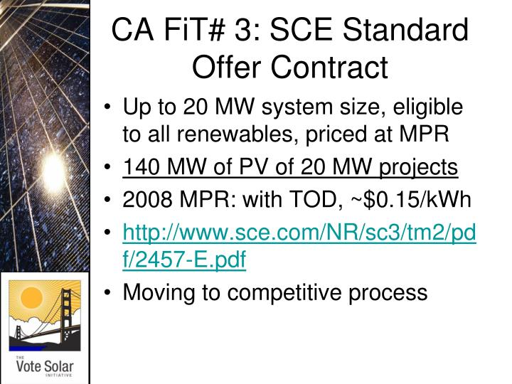CA FiT# 3: SCE Standard Offer Contract