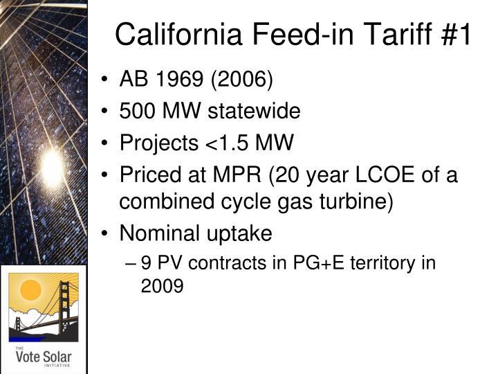 California Feed-in Tariff #1