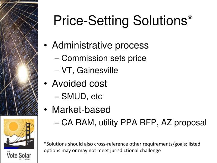 Price-Setting Solutions*