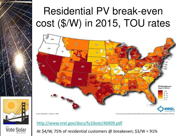 Residential PV break-even cost ($/W) in 2015, TOU rates