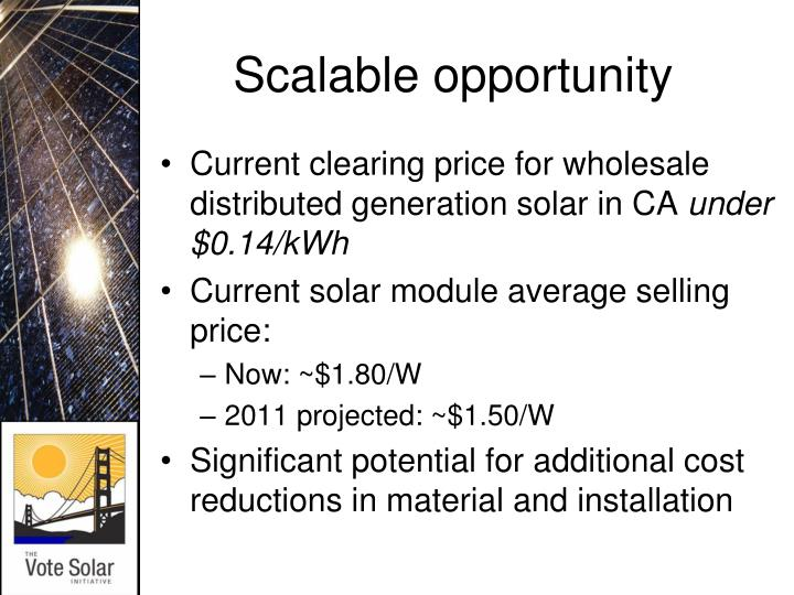 Scalable opportunity