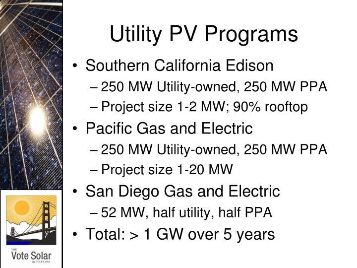Utility PV Programs