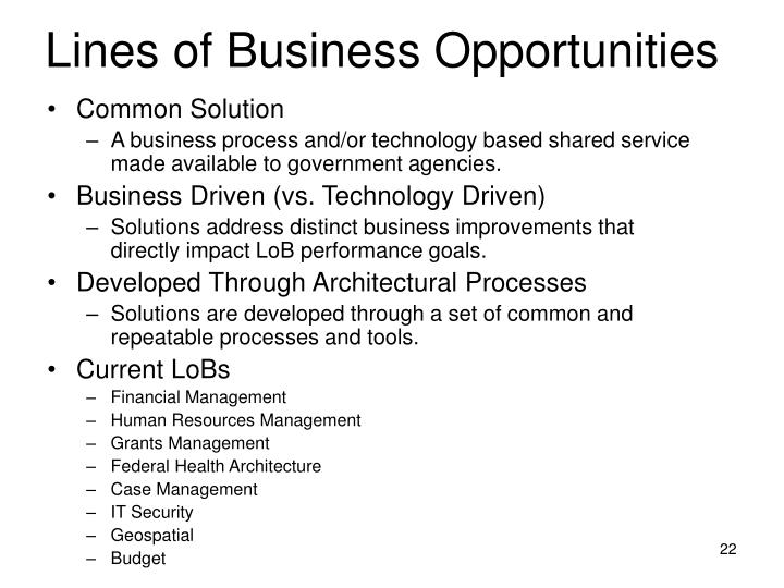Lines of Business Opportunities