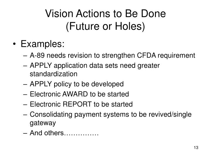 Vision Actions to Be Done